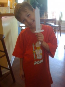 Tommy wearing his new LEGO pope shirt back in 2009